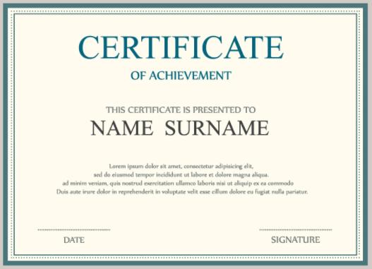 Certificate of Achievement generated for attending a training webinar on Webinato